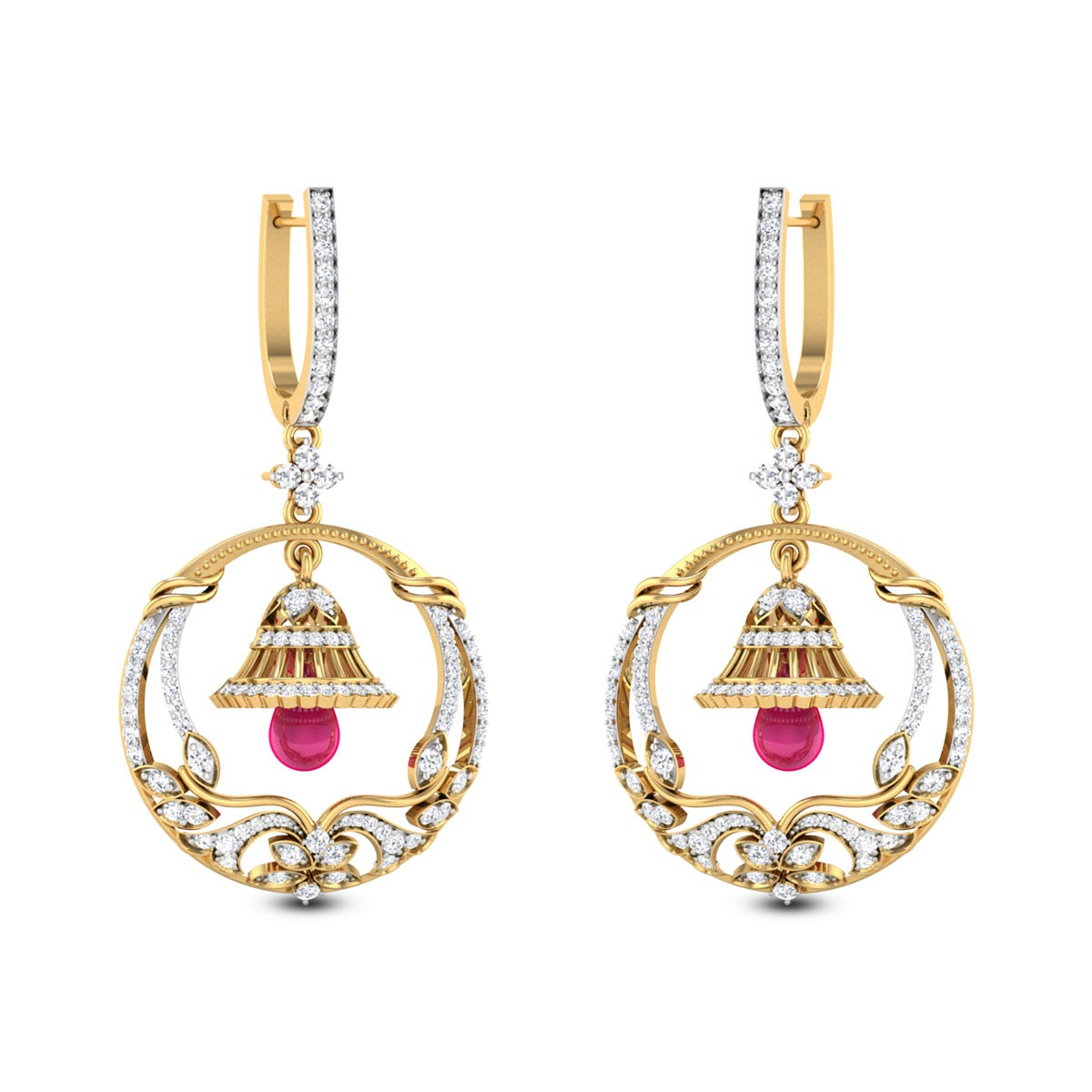 Jyotsna Floral Bell Hoop Earrings