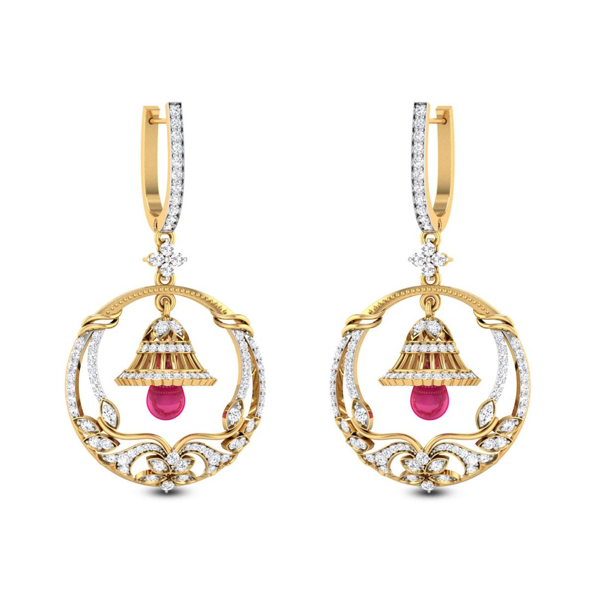 Jyotsna Floral Bell Hoop Earrings