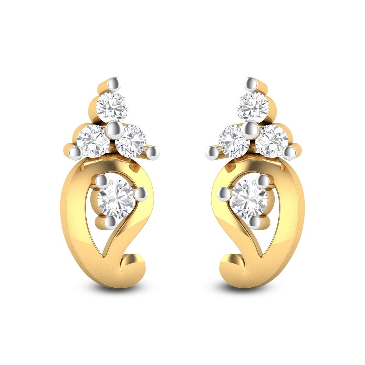Three Stone Paisley Diamond Stud Earrings