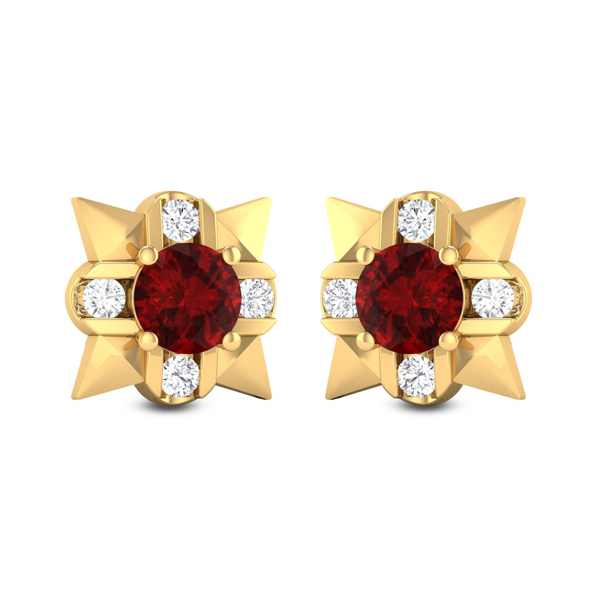 Sadhika Ruby Diamond Stud Earrings