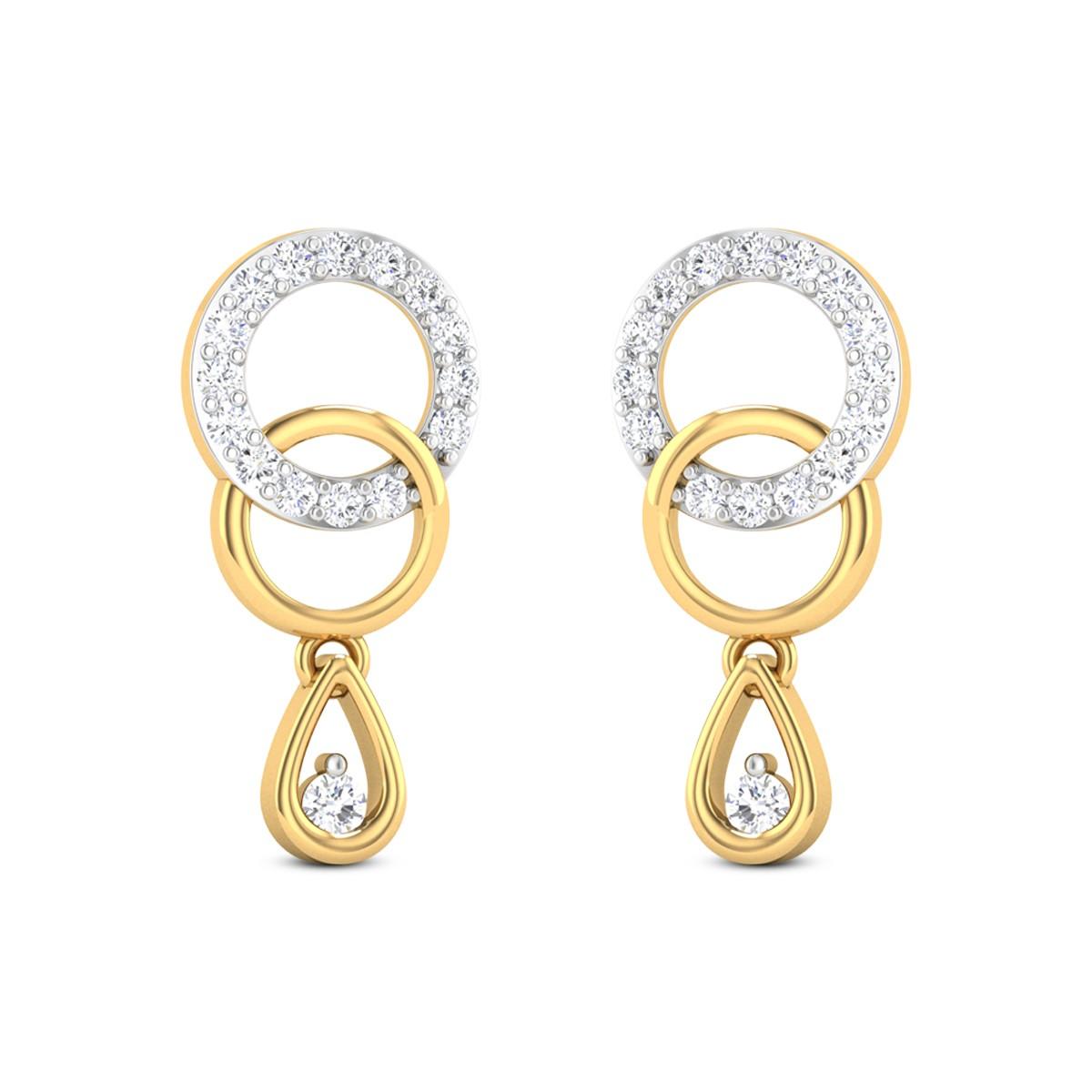 Akshat Dual Ring Diamond Drop Earrings
