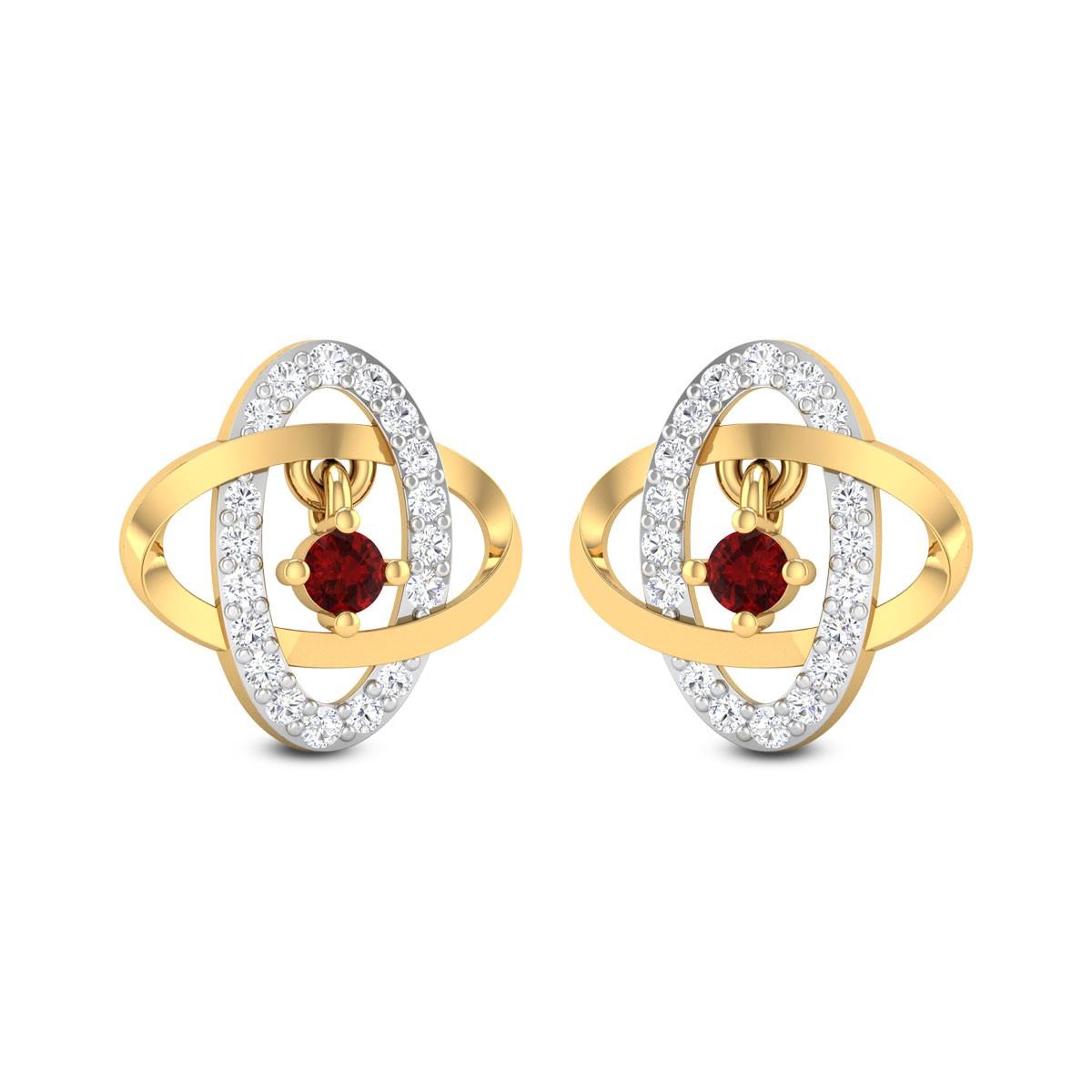 Atom Ruby Drop Stud Earrings