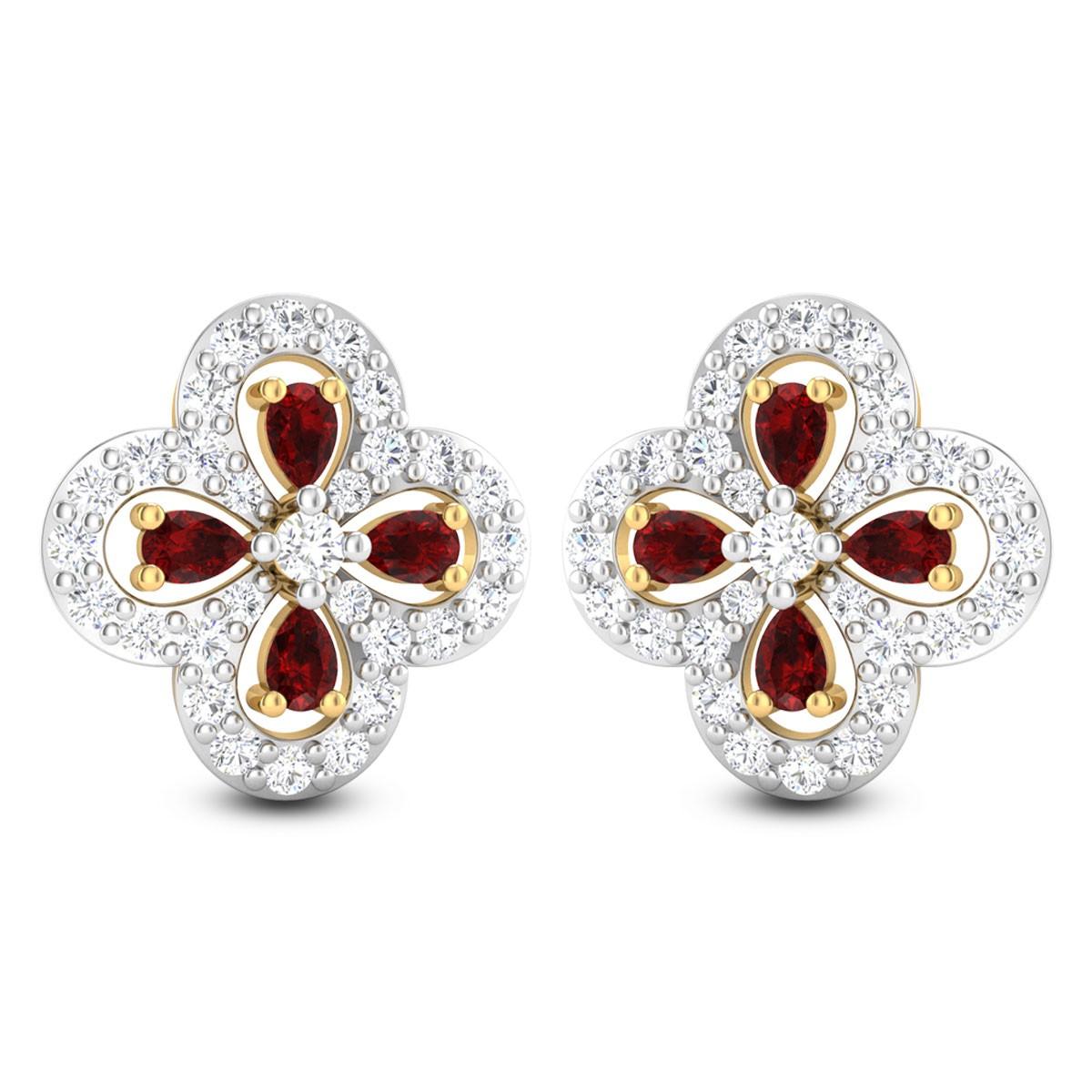 Ashwika Ruby Floral Stud Earrings