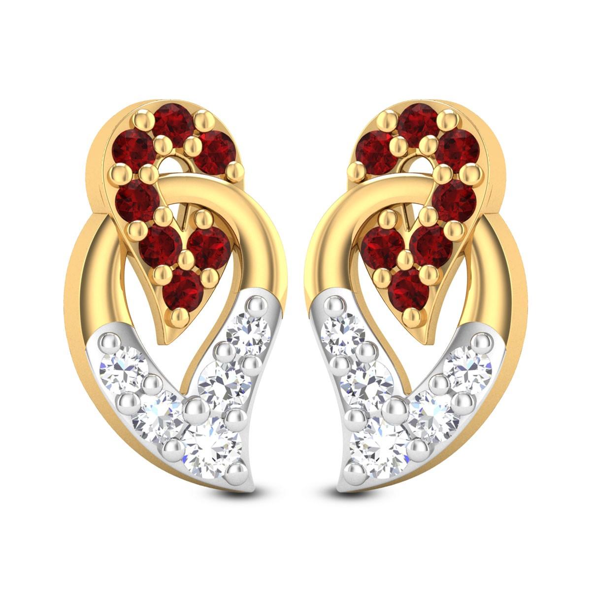 Ruby Leaf-in-Leaf Stud Earrings