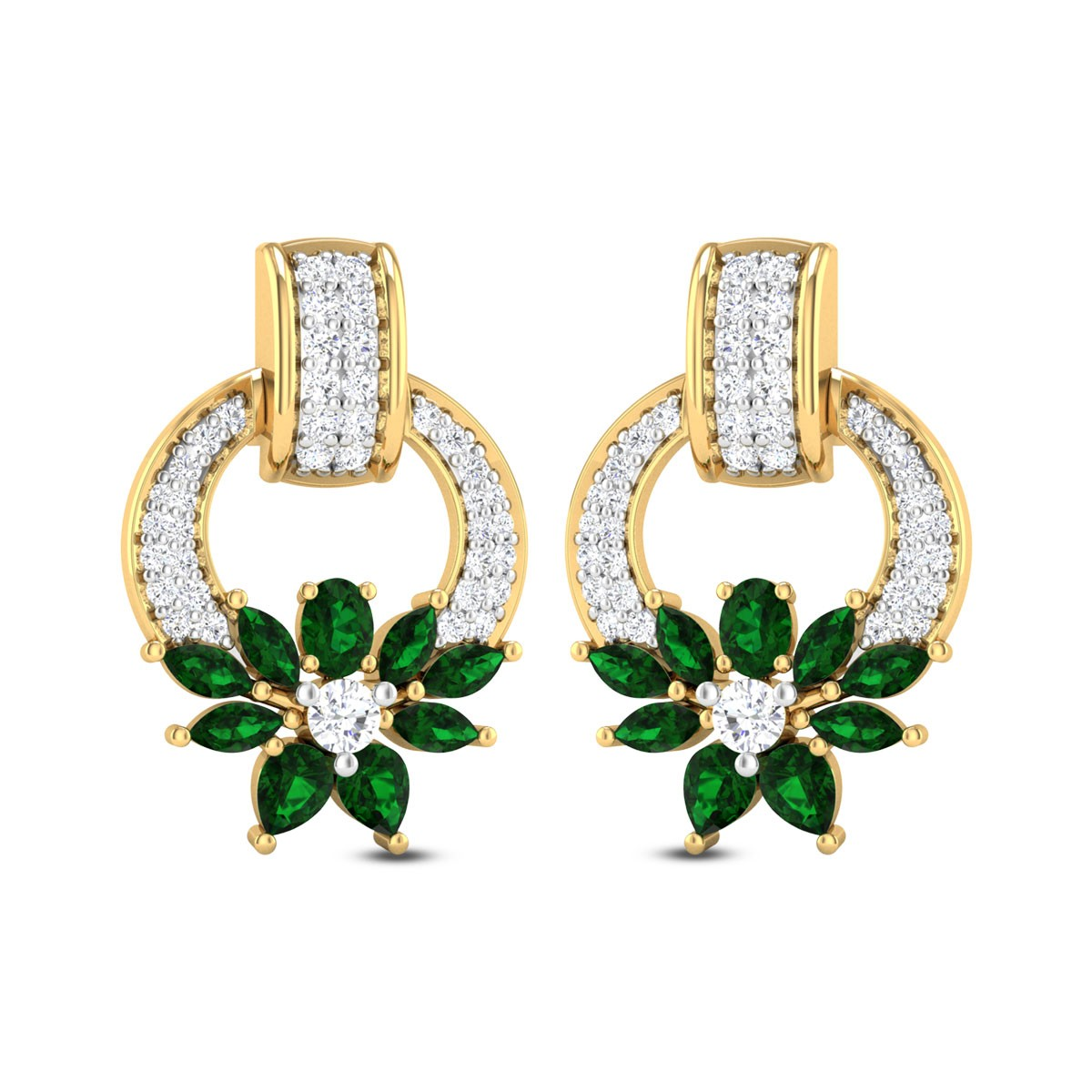 Shauri Floral Emerald Stud Earrings