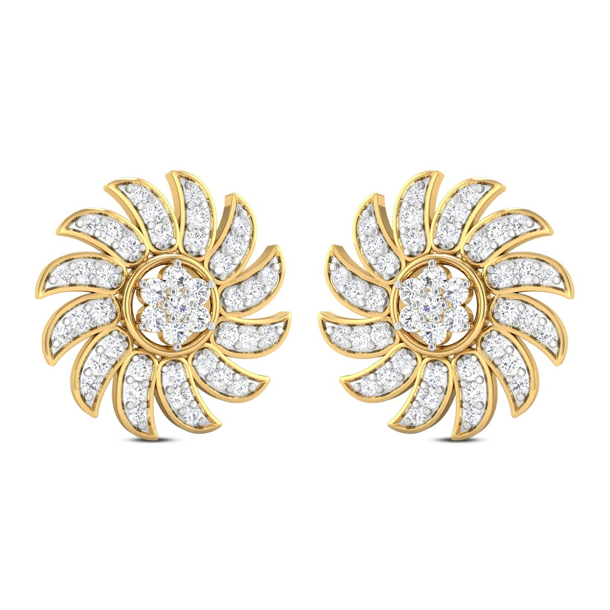 Dallas Floral Diamond Stud Earrings