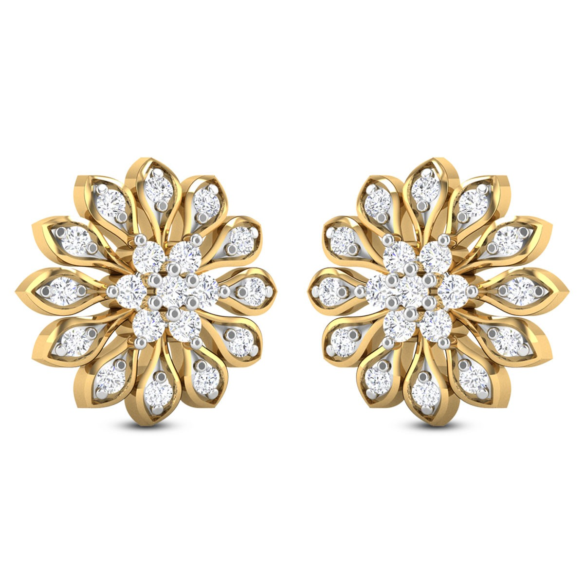 Devin Floral Diamond Stud Earrings