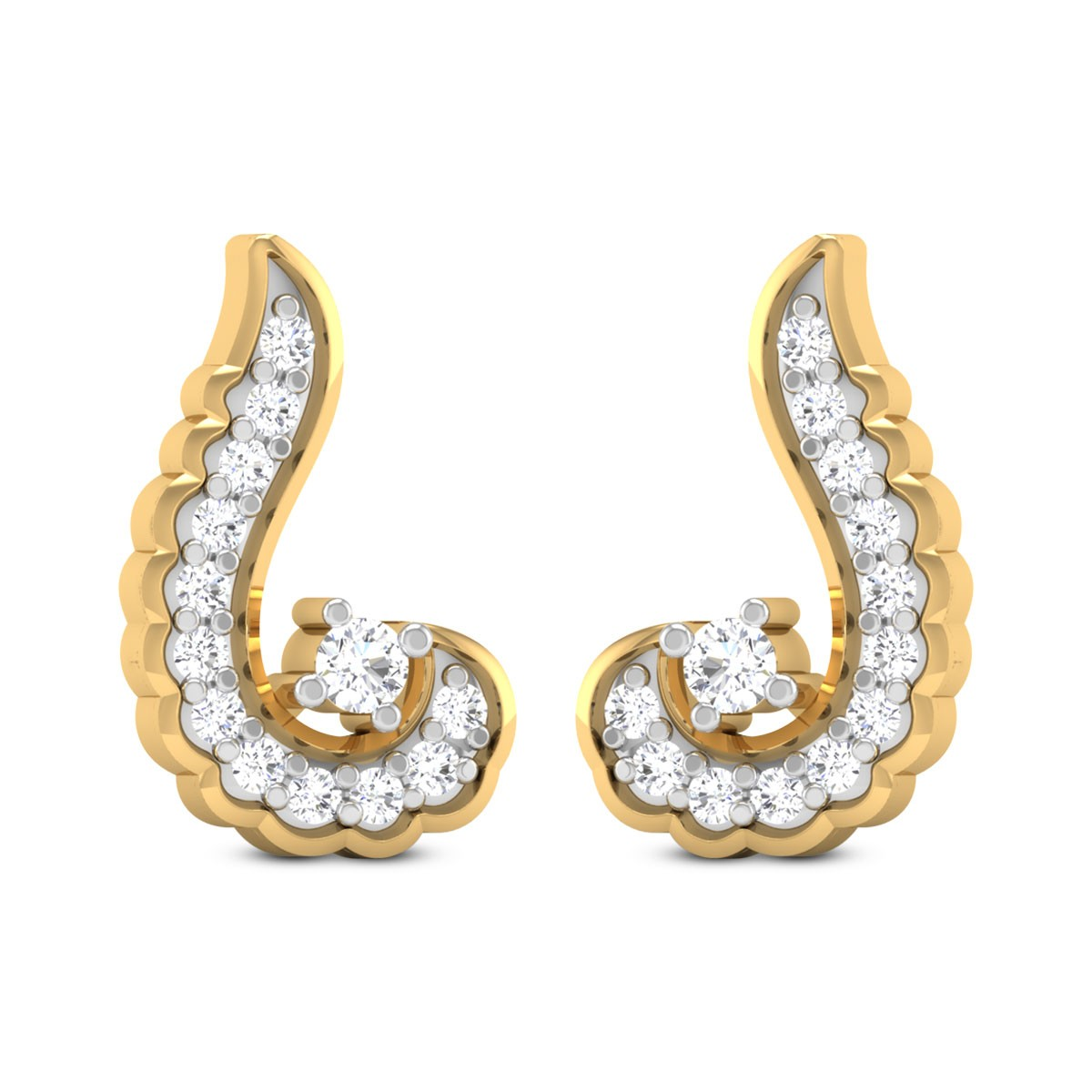 Dian Curvy Diamond Stud Earrings
