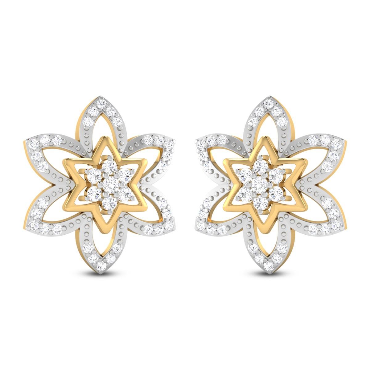 Elian Floral Diamond Stud Earrings