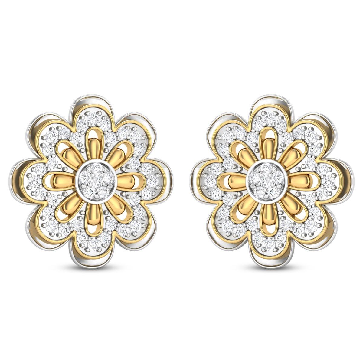 Kiernan Dual Tone Floral Diamond Stud Earring