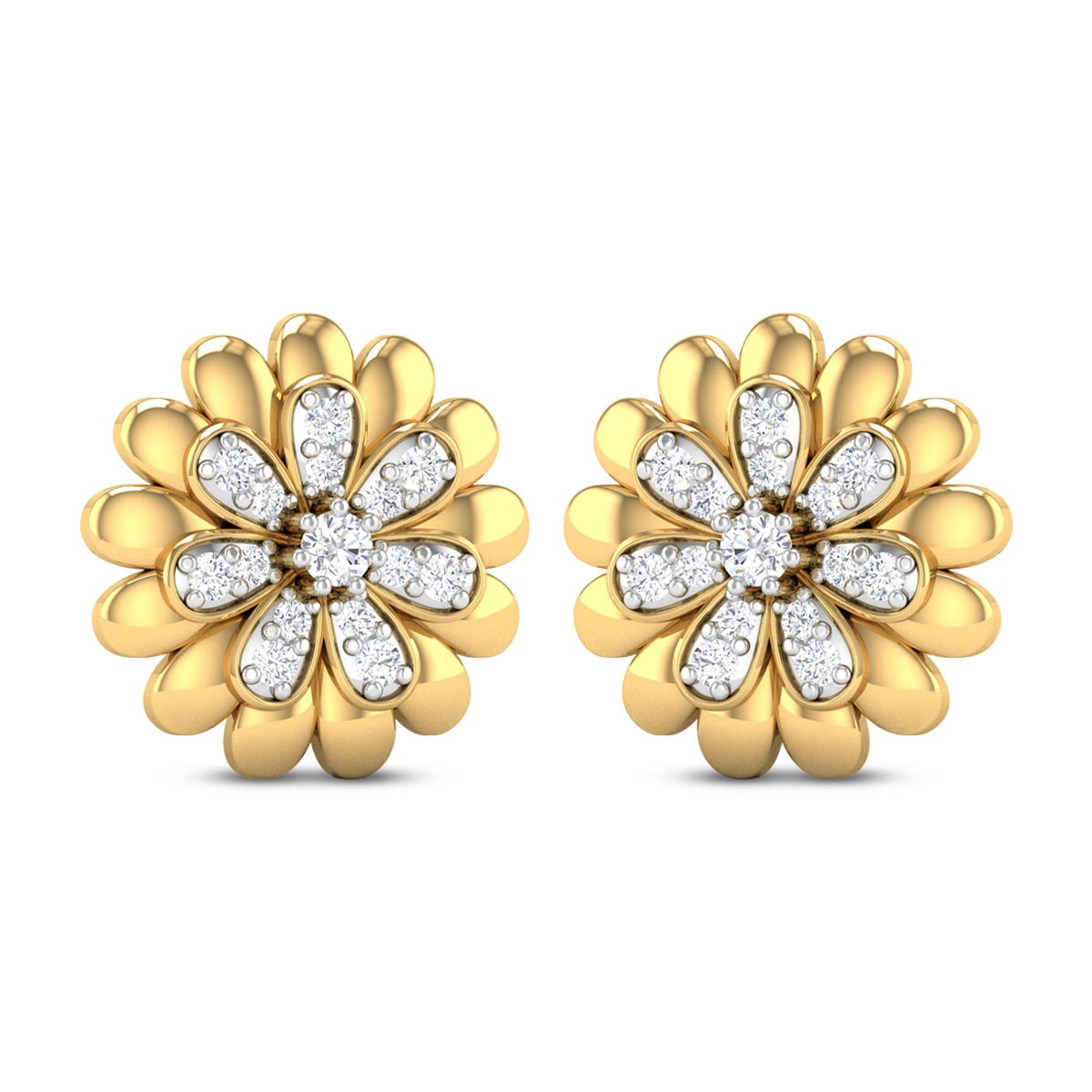 Agrata Dual Layer Floral Diamond Stud Earrings