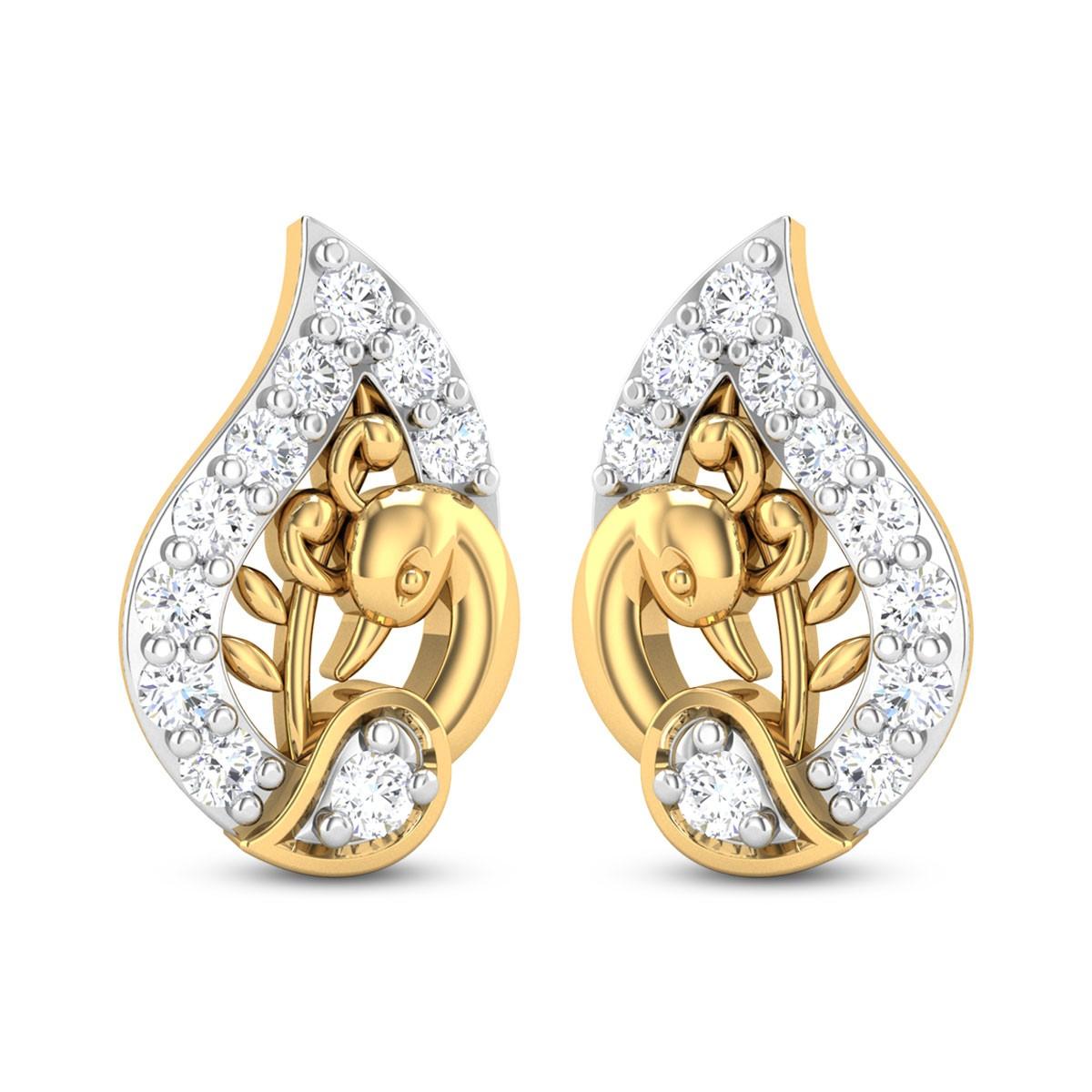 Ondine Peacock Diamond Stud Earring