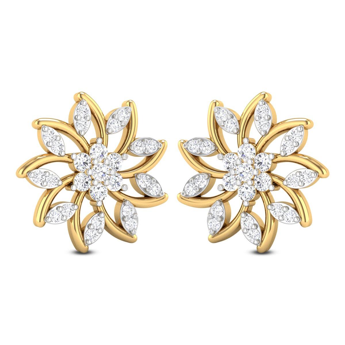 Sabra Diamond Stud Floral Earring
