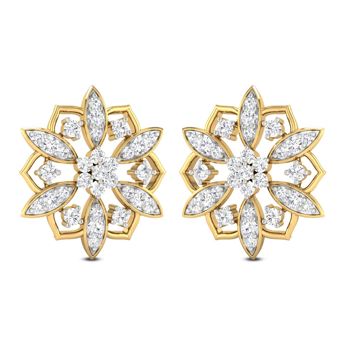 Reagan Floral Diamond Stud Earring