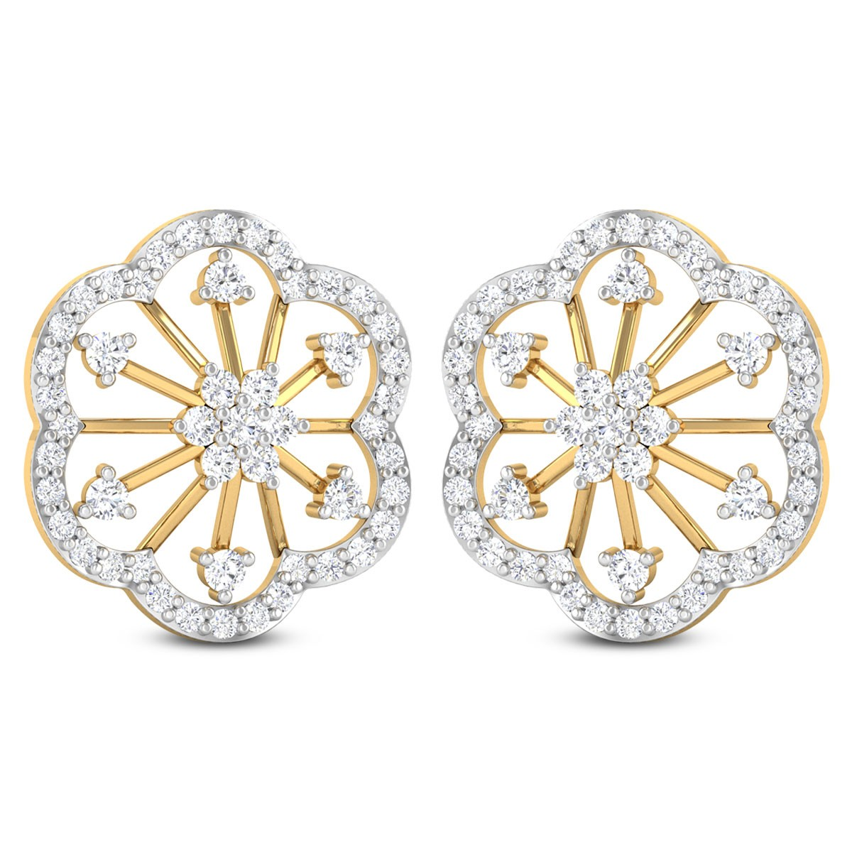 Noreen Floral Diamond Stud Earring