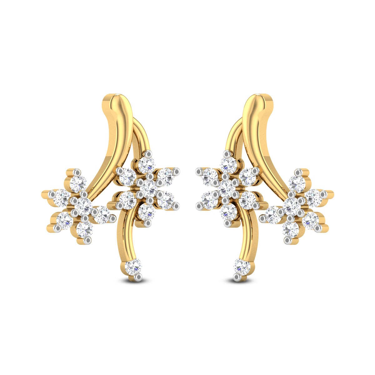 Benton Floral Diamond Stud Earrings