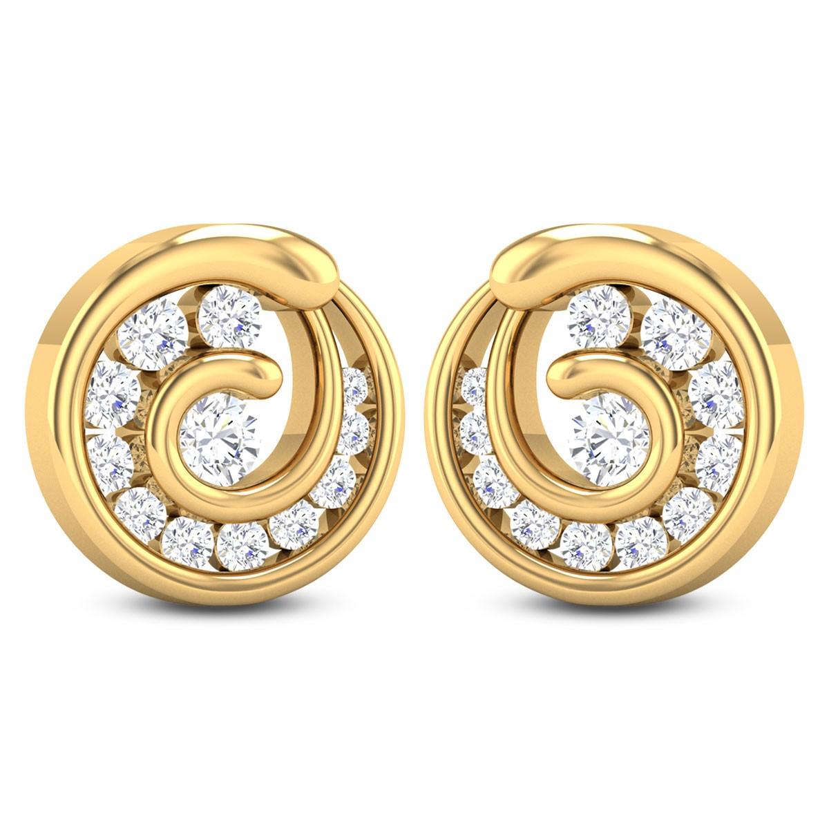 Sena Swirl Diamond Stud Earrings