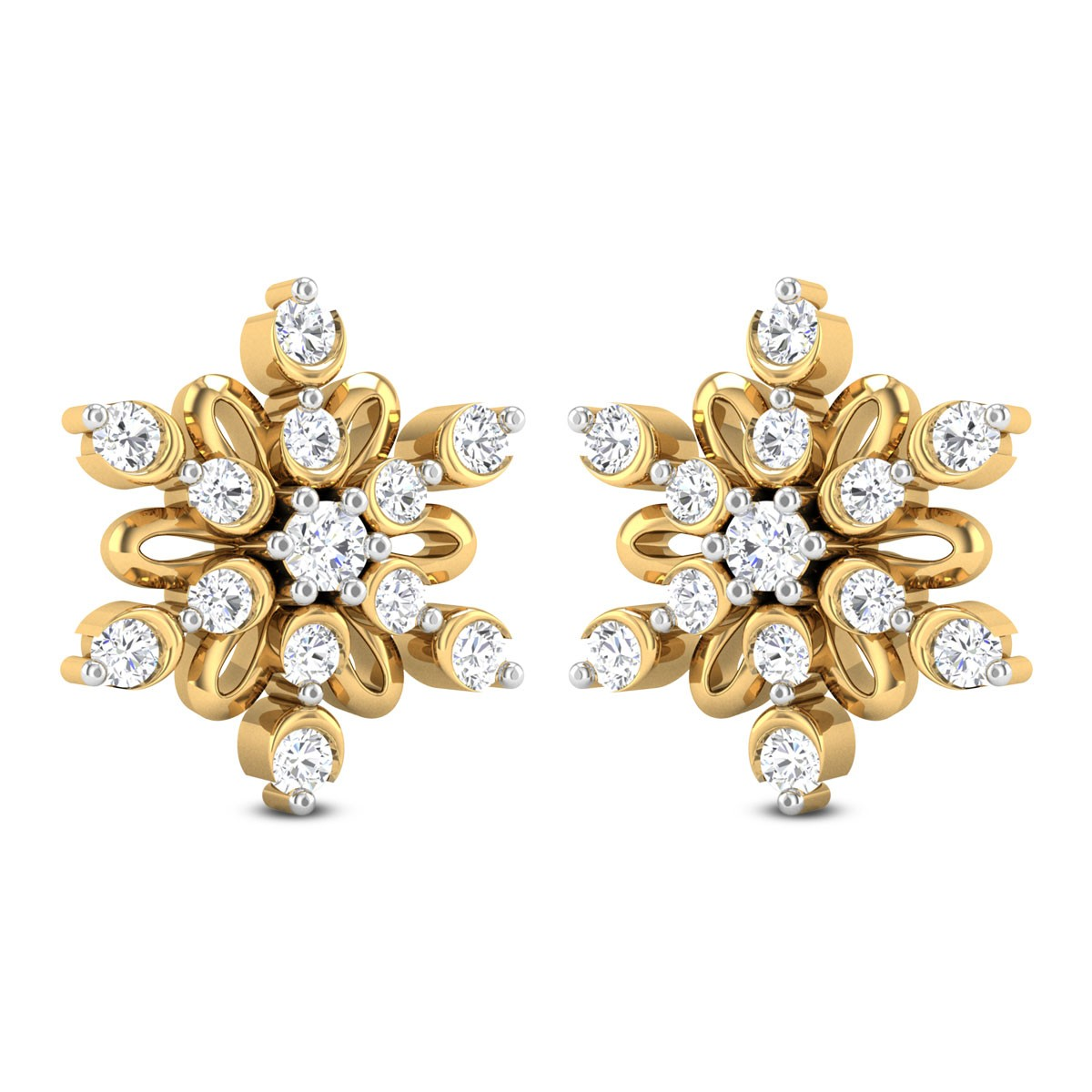 Maren Floral Diamond Stud Earrings