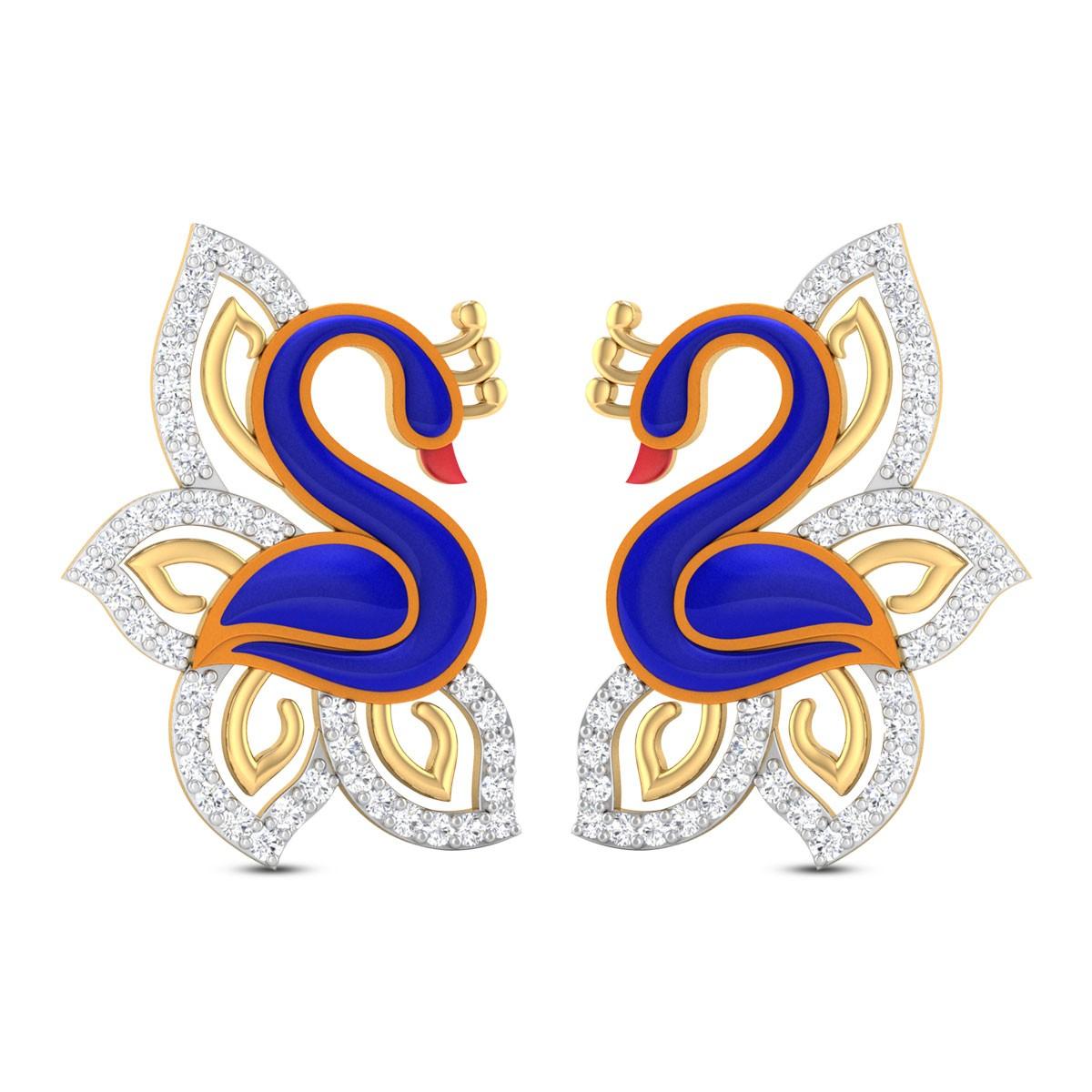 Waverly Peacock Diamond Stud Earrings