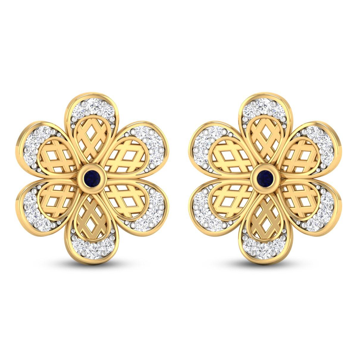 Dual Lattice Flower Diamond Stud Earrings