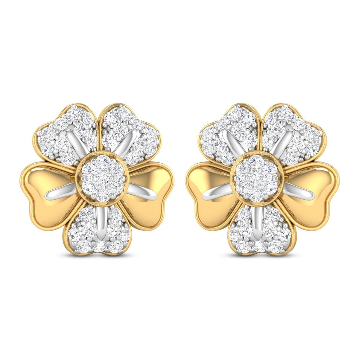Makena Floral Diamond Stud Earrings