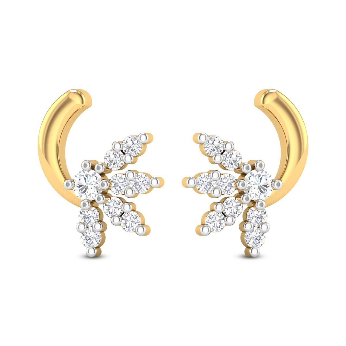 Kaia Curved Floral Diamond Stud Earrings