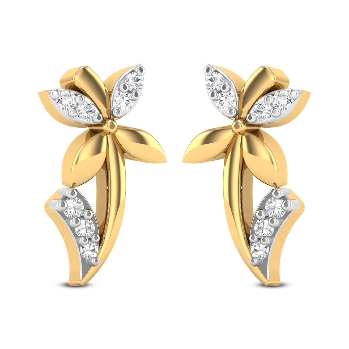 Flower Plant Diamond Stud Earrings