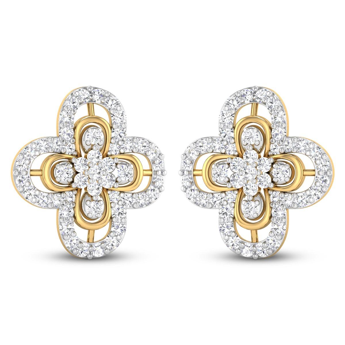 Greer Floral Diamond Stud Earrings