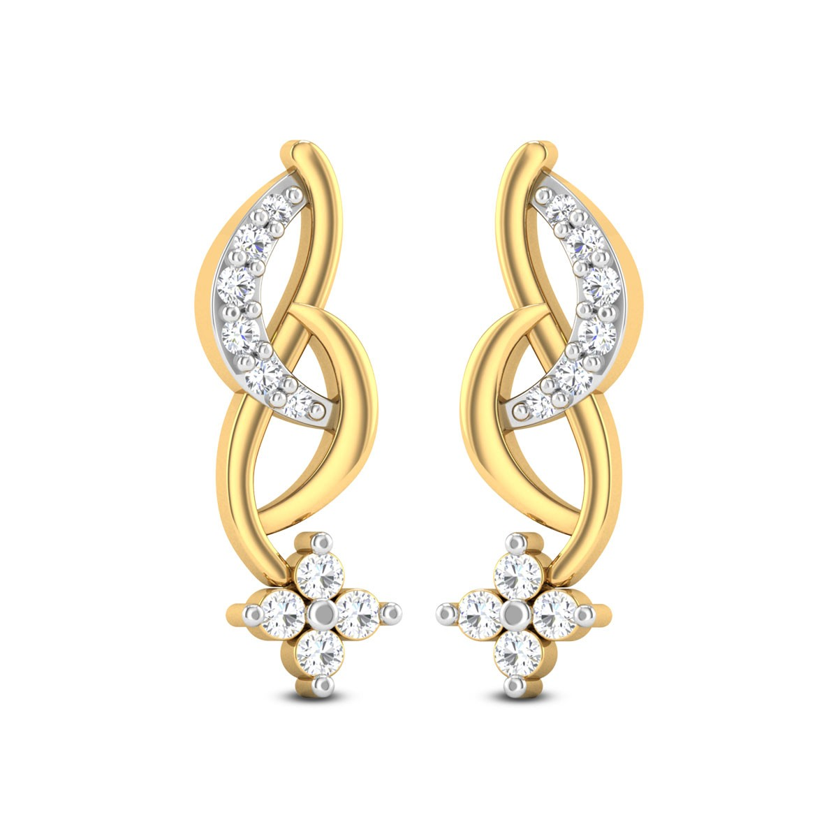 Grecia Floral Diamond Stud Earrings