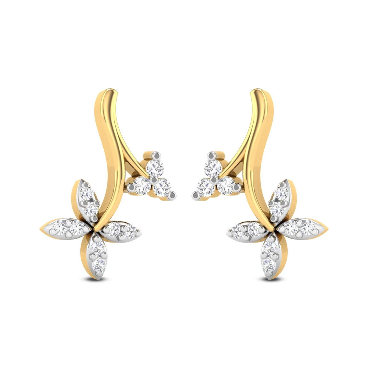 Gracen Floral Diamond Stud Earrings