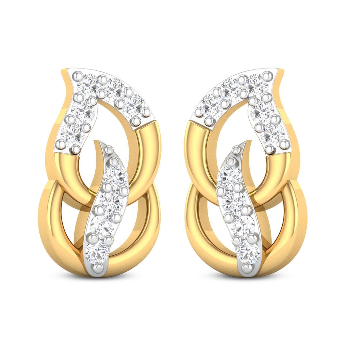 Jax Dual Leaf Diamond Stud Earrings