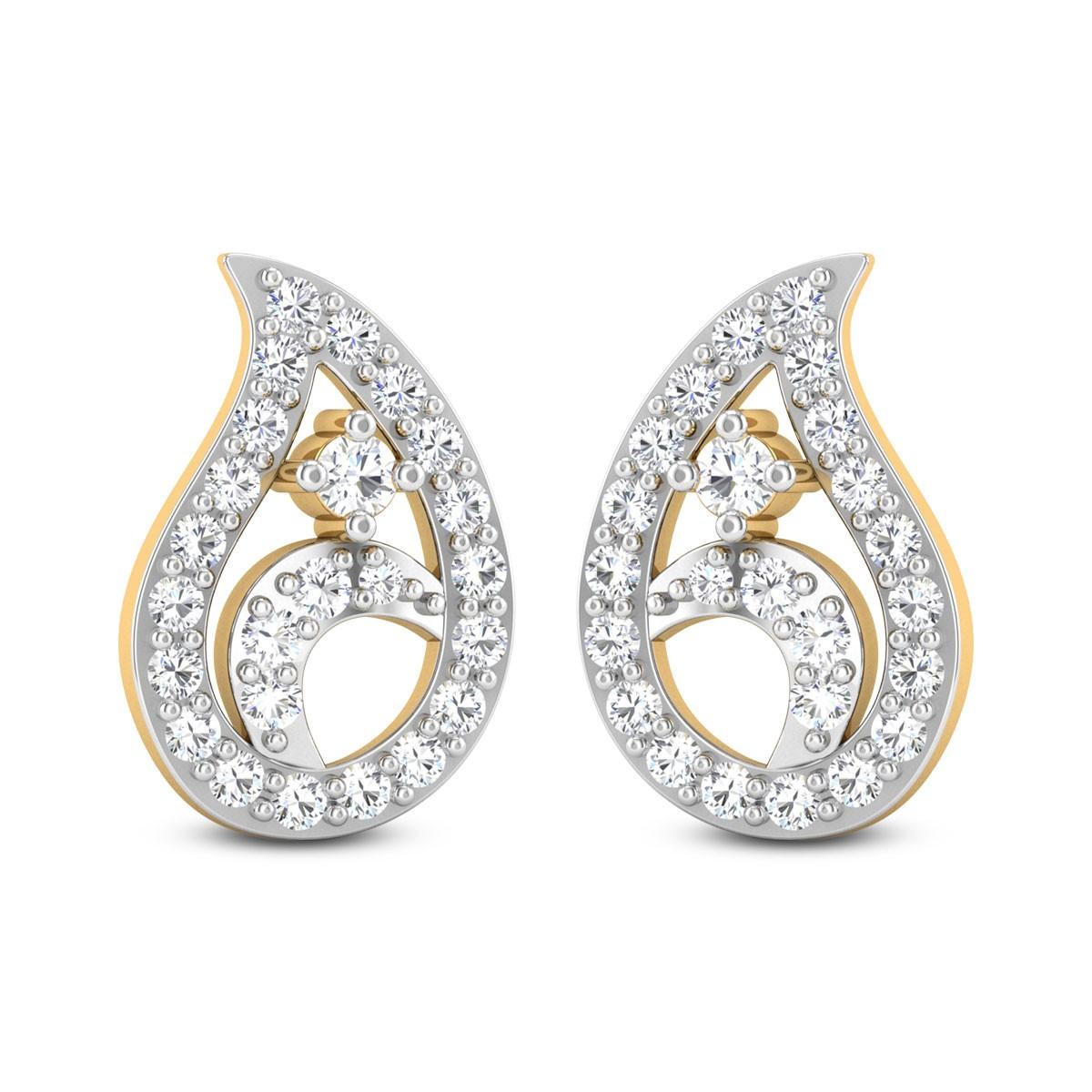 Fleur Paisley Diamond Stud Earrings