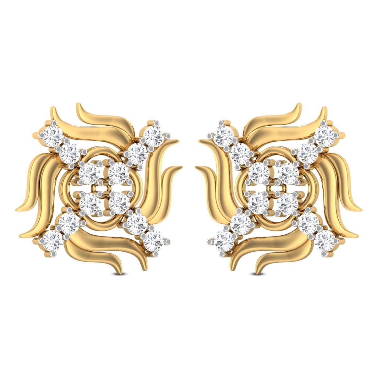 Farren Swastika Diamond Stud Earrings