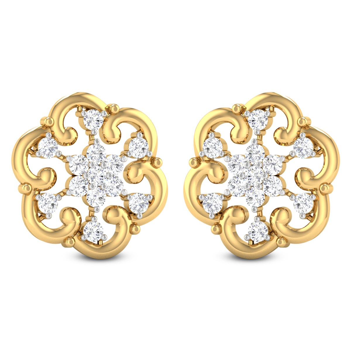 Embry Floral Diamond Stud Earrings