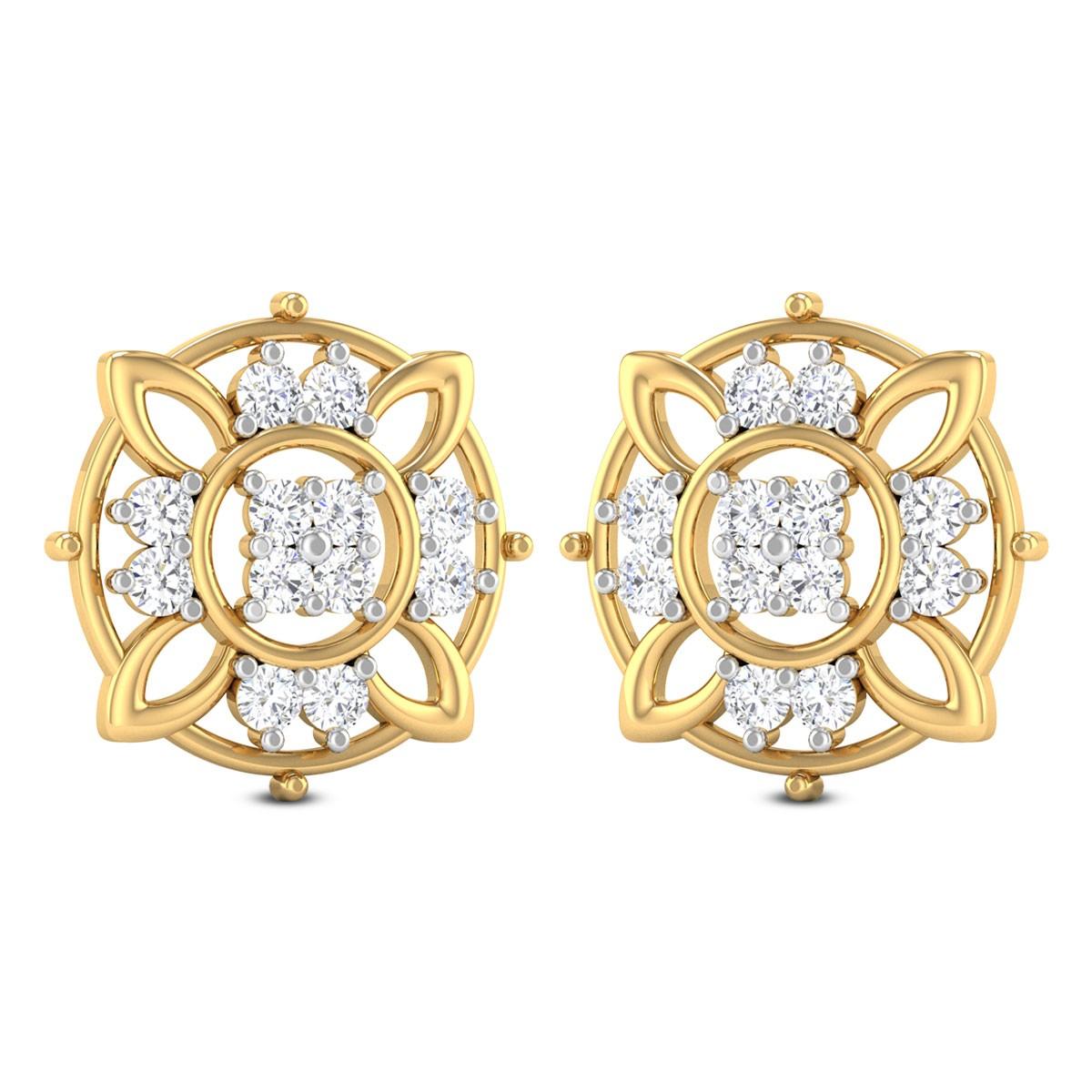Elora Floral Diamond Stud Earrings