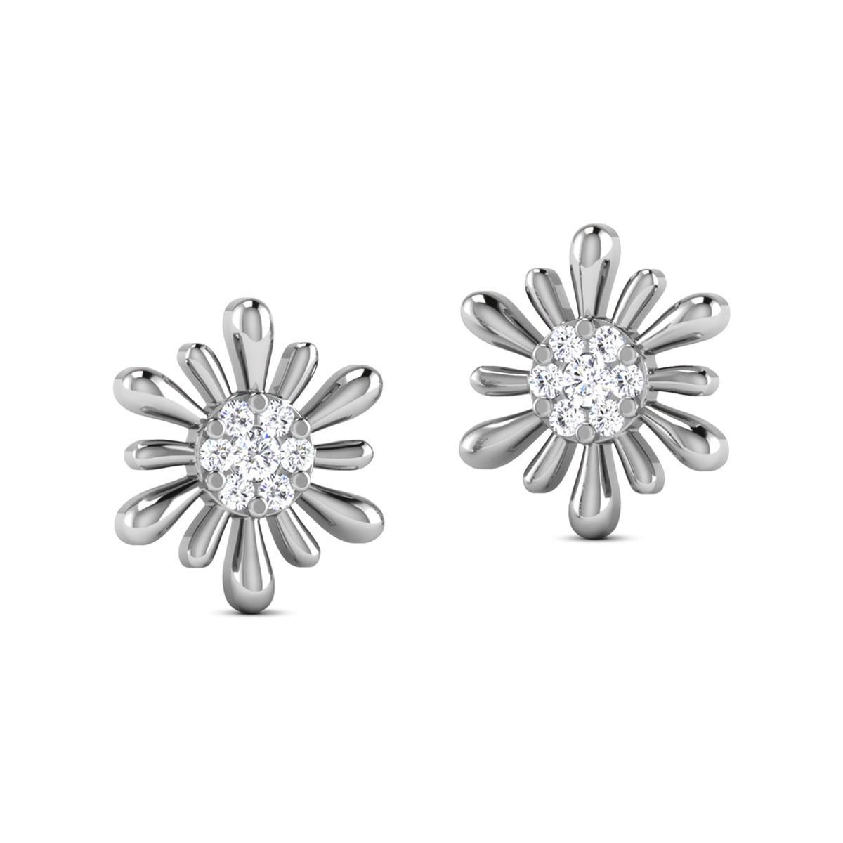 Chara Diamond Stud Floral Earrings