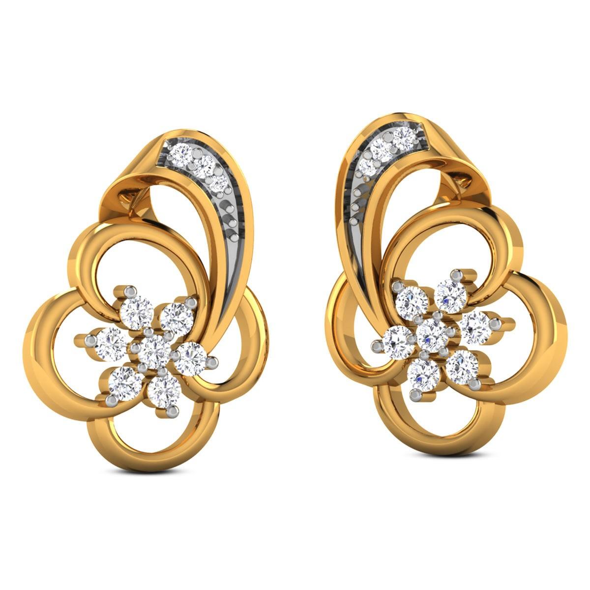 Dalmatia Diamond Stud Floral Earrings