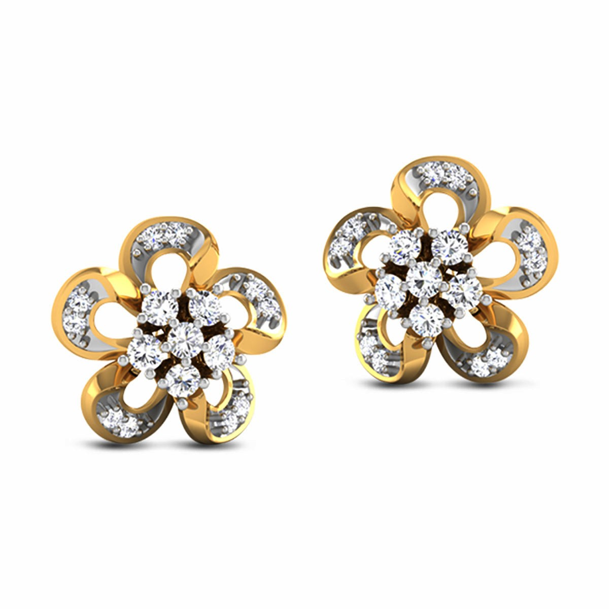 Chinayi Diamond Stud Floral Earrings