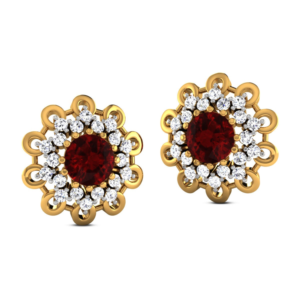 Deeptha Ruby Stud Earrings