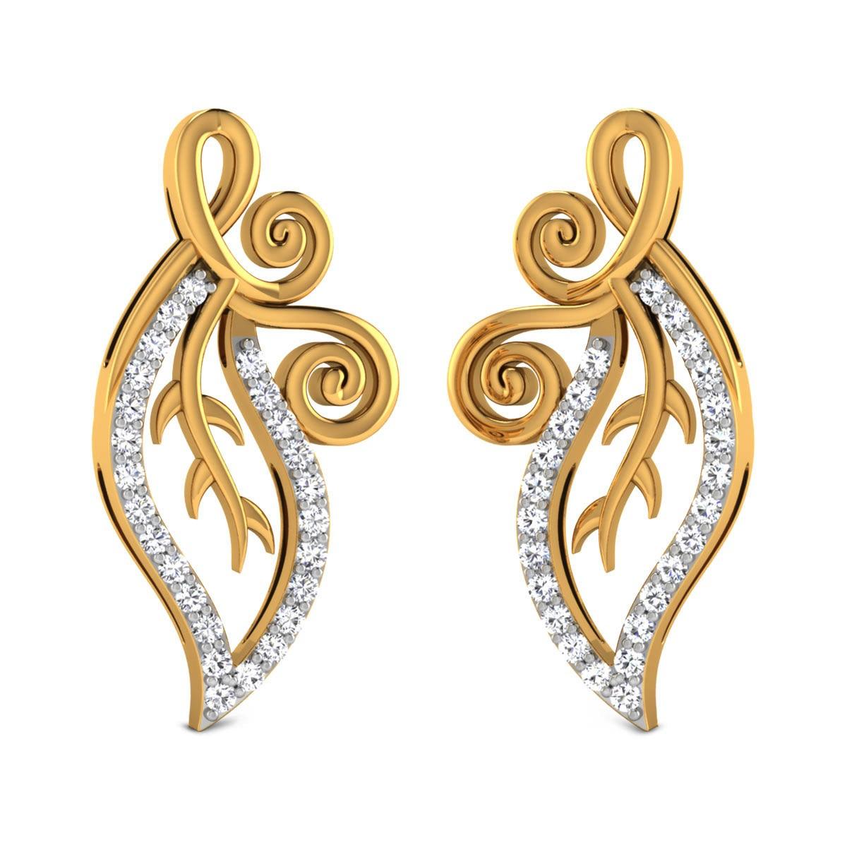 Etasha Diamond Leafy Stud Earrings
