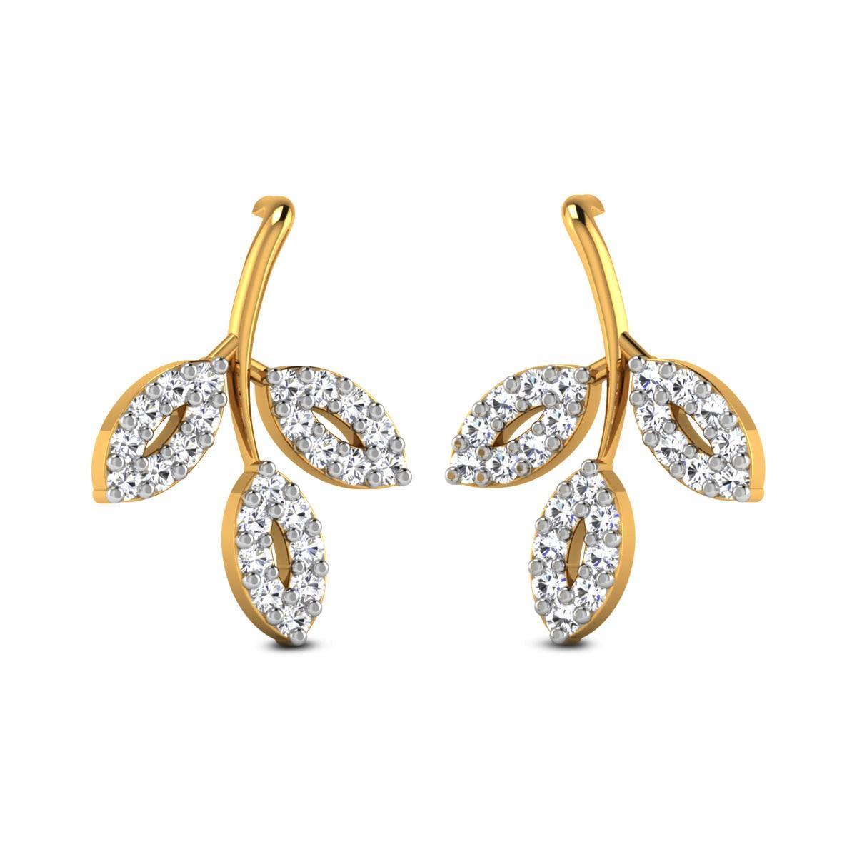 Fulmoti Diamond Leafy Stud Earrings