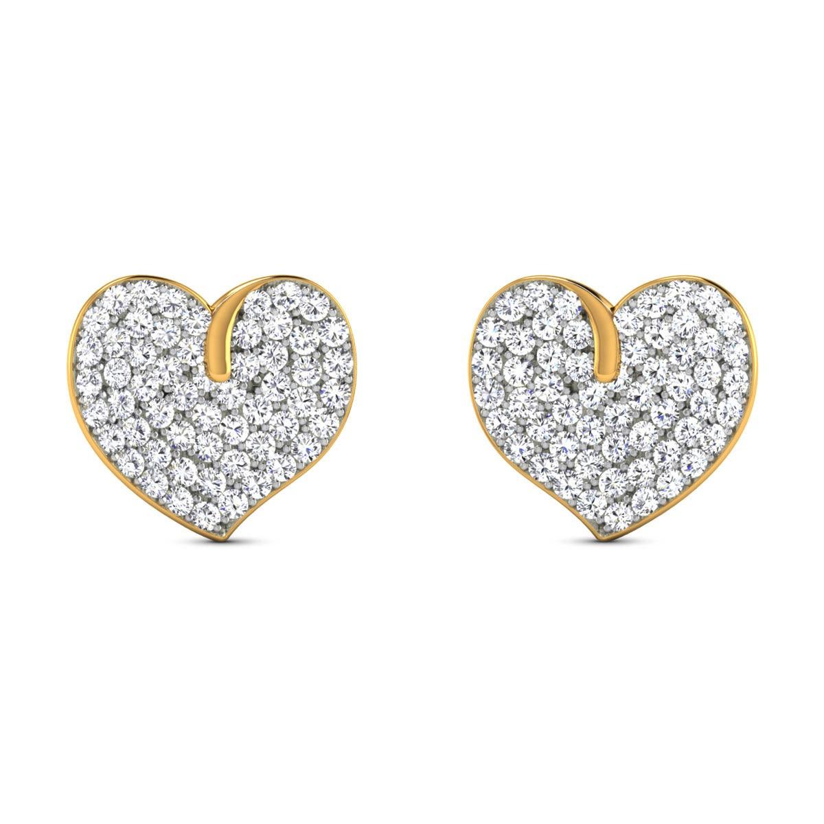 Farishta Diamond Heart Stud Earrings