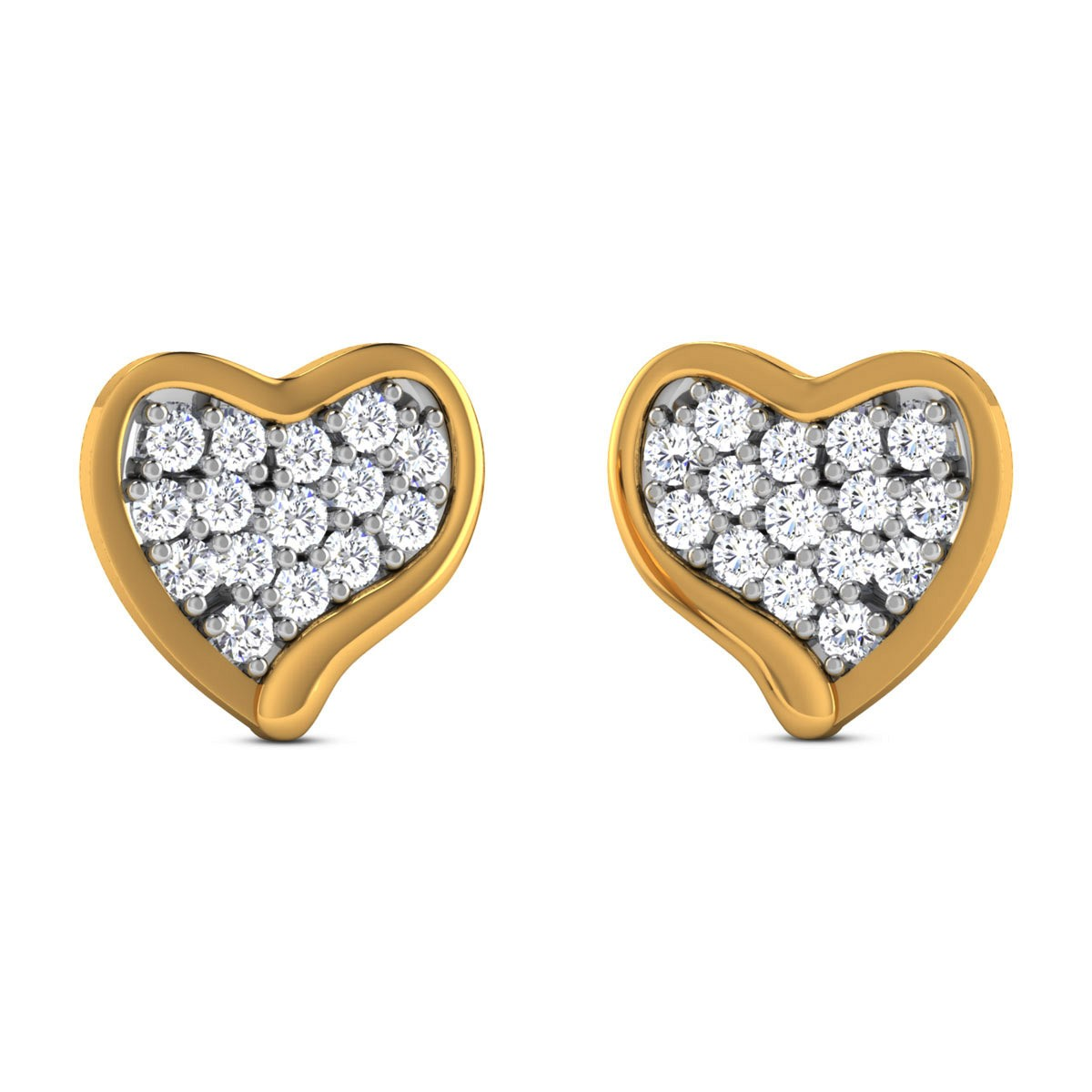 Foolan Diamond Heart Stud Earrings