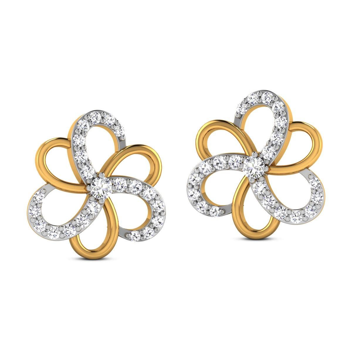 Dhanvi Diamond Stud Floral Earrings