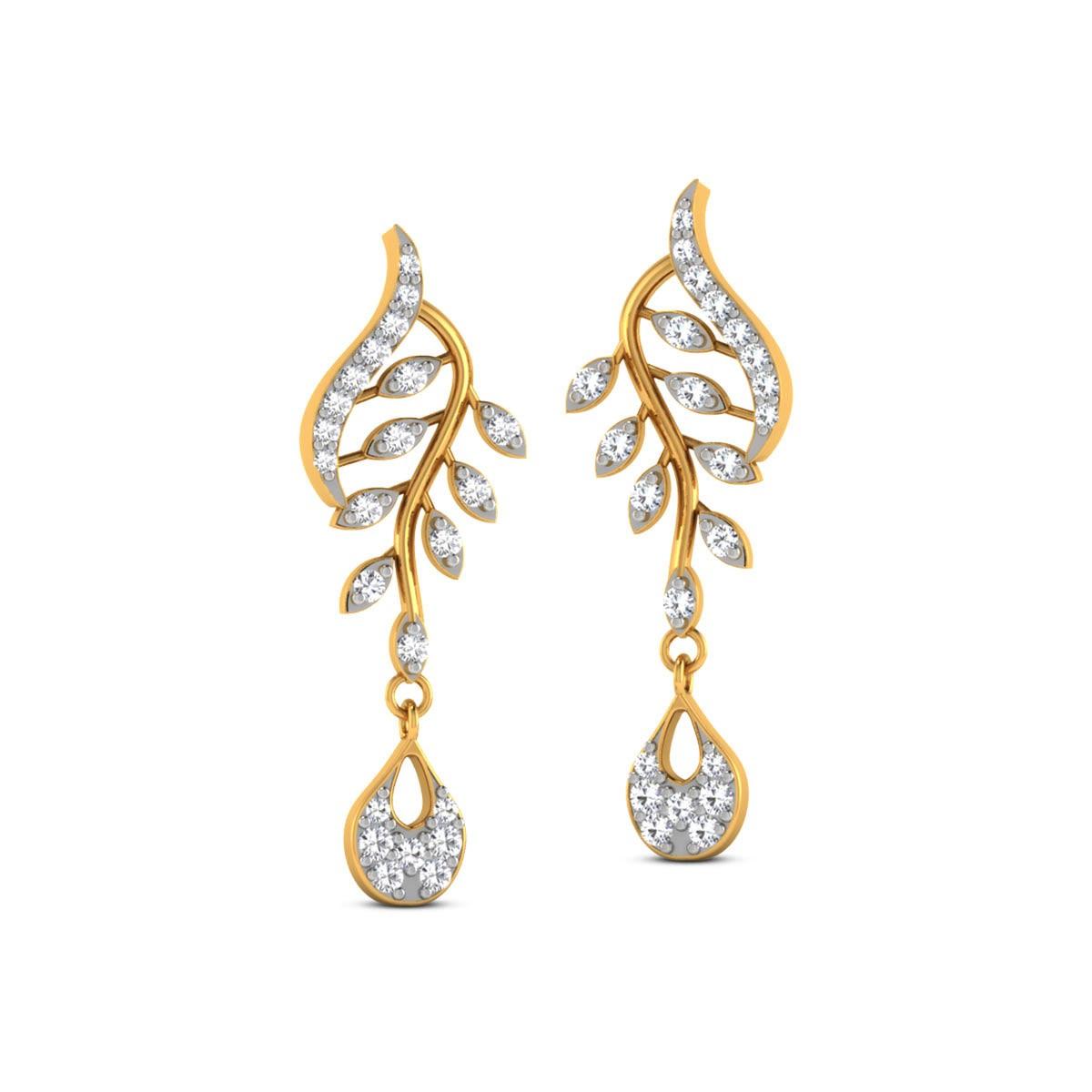 Dalika Diamond Leafy Stud Earrings