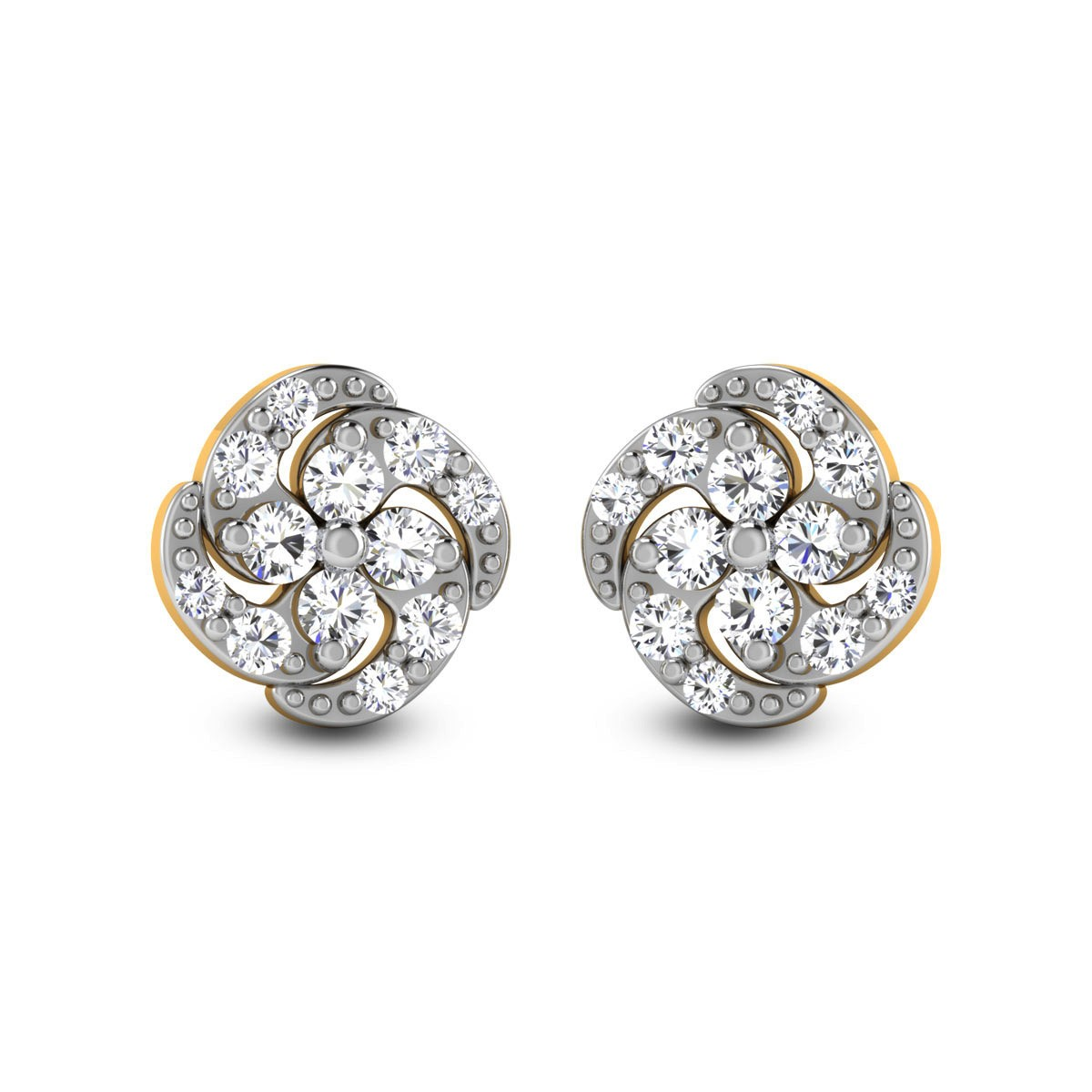 Spiral Floral Diamond Stud Earrings