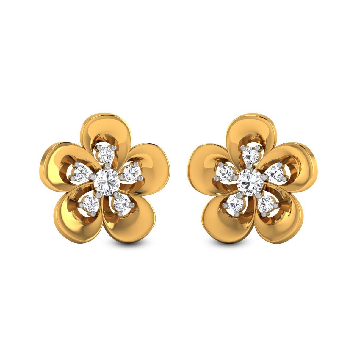 Seven Stone Floral Diamond Stud Earrings