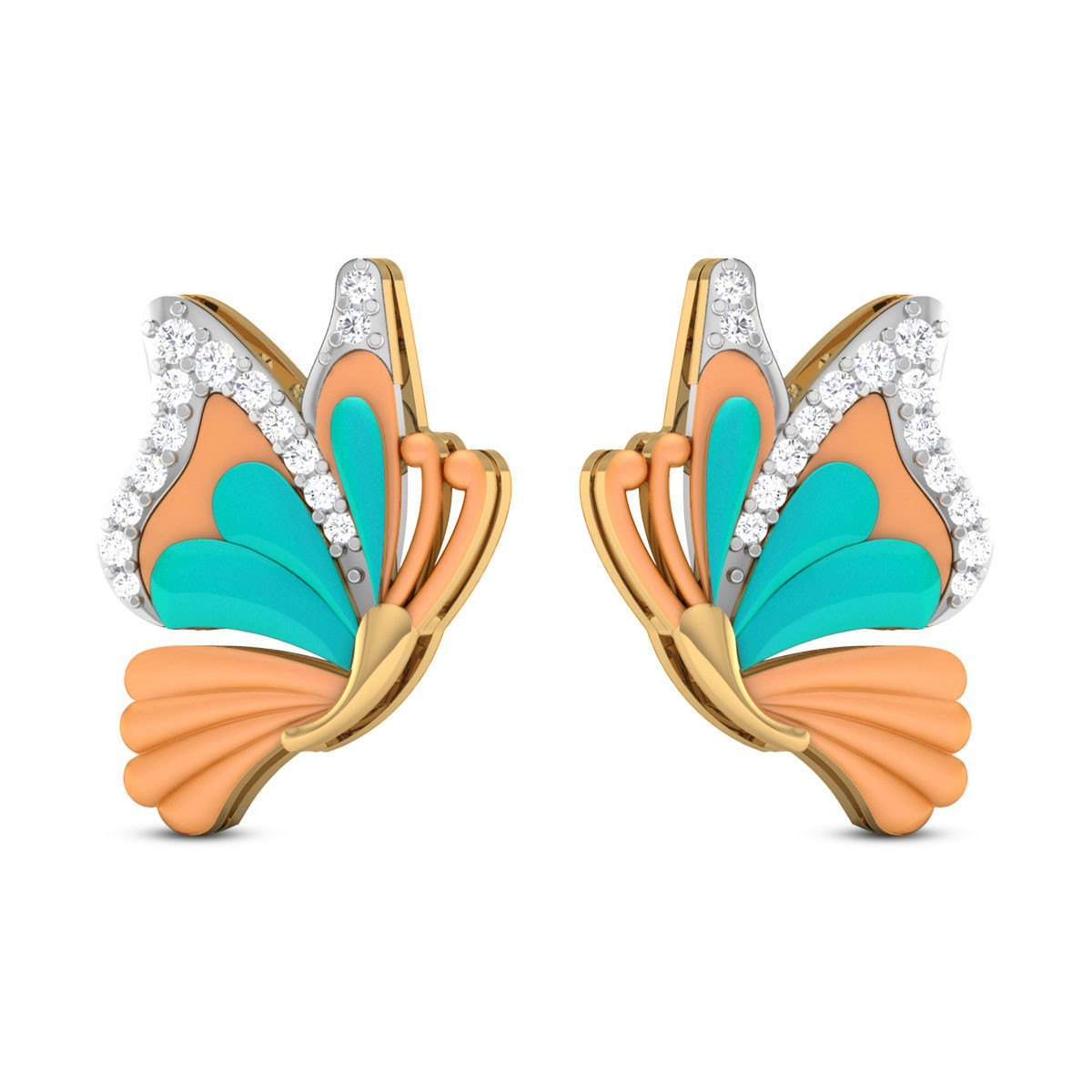 Jiya Butterfly Diamond Stud Earrings