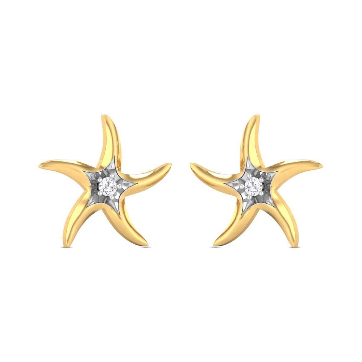 Acacia Star Yellow Gold Diamond Earrings