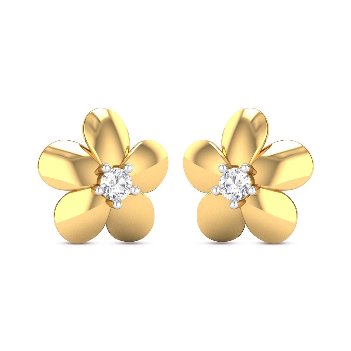 Altheda Flower Girl's Yellow Gold Diamond Earrings